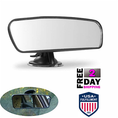 Long Rear View Mirror Suction Cup Universal Wide Large Car Dash Mount Rearview