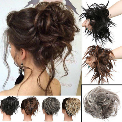 Messy Bun Ponytail Scrunchie Tousled Hair Piece Extensions Black Brown Blonde US