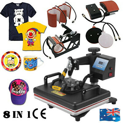 8 in 1 Heat Press Machine Transfer Sublimation for T-Shirt Mug Cup Plate Cap Hat