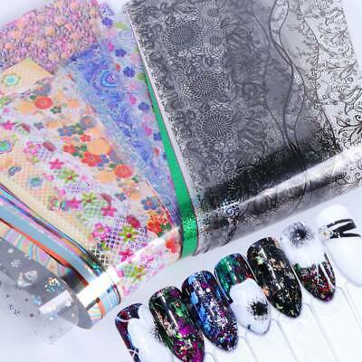 50Pcs Nail Holographic Nail Foil Flower Lace Transfer Stickers Decals Nail Art