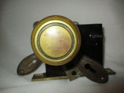 Vintage Brass Door Knob Set with Striker Plate, Cover Plates & Lock (No Key)