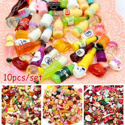 10Pcs Mixed Lot Cute Food Candy Scrapbooking Flatback Cabochons DIY Craft Kit/