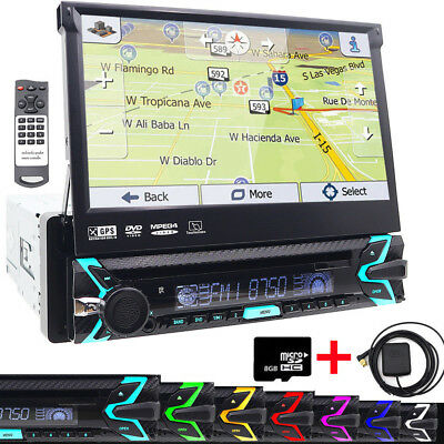 """1DIN CD/DVD Player 7"""" Flip Up GPS Navigation Bluetooth Car Stereo Radio with Map"""