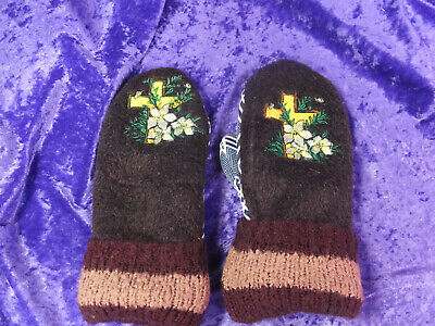 Women's Recycled Sweater HandMade 100% Wool Mittens Lined Embroidered
