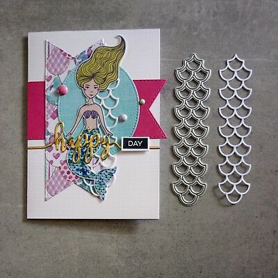 shopaperartz MERMAID FISH SCALES NAUTICAL ACCENT CUTTING DIE CARDMAKING NEW