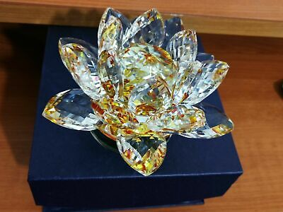 Shiny LARGE  CRYSTAL LOTUS FLOWER ORNAMENT WITH GIFT BOX  CRYSTOCRAFT HOME DECOR