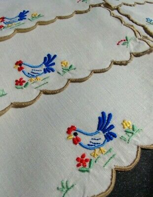 Vintage Madeira Embroidered Cocktail Napkins - Set of 6 Rooster and Flowers (#84