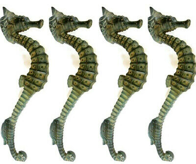 "4 small SEAHORSE PULL handle 27cm brass door aged GREEN old style house  10"" B"