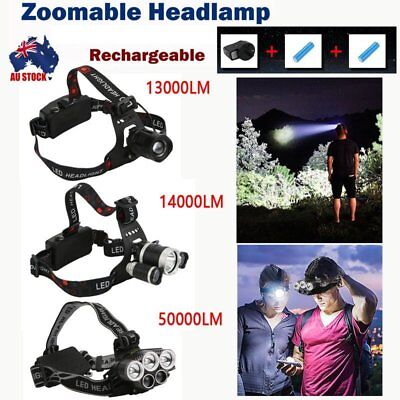 13000-50000LM LED Headlamp Rechargeable Headlight  T6 Head Torch Light Camp