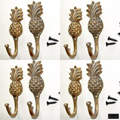 "8 very small PINEAPPLE BRASS HOOK COAT WALL MOUNTED HANG old style hook 3"" B"