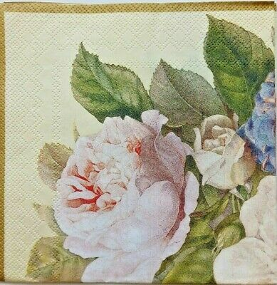 4x paper napkins use for decoupage, rose.Servilletas de papel decoupage flores