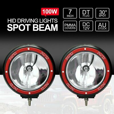 2X 7inch HID 100W Driving Lights XENON Spotlight Offroad Lamp UTE 4x4 Work Red G