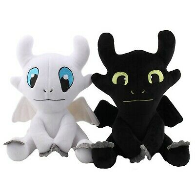 """10""""/14"""" How to Train Your Dragon 3 Toothless Night Fury Light Fury Plush Doll UK"""