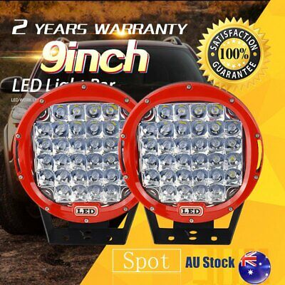Pair 9inch 99999W Round Red LED Driving Lights Off Road 4x4 Spotlights HID AU