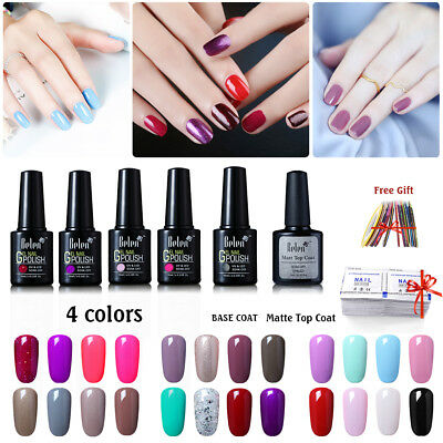 Belen 4 Colors Set UV Led Soak off Gel Nail Polish + Free Top & Base Coat 10ML