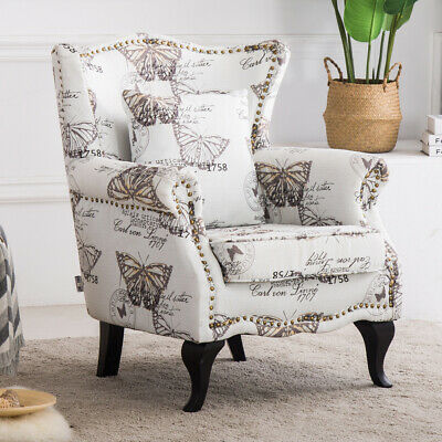 Vintage Butterfly Printed High Wing Back Chesterfield Style Armchair Tub Chair