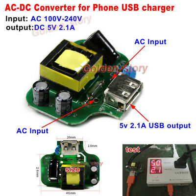 Mini AC-DC Converter AC110V 220V 230V 240V to 5V 2A DIY USB Output Phone Charger