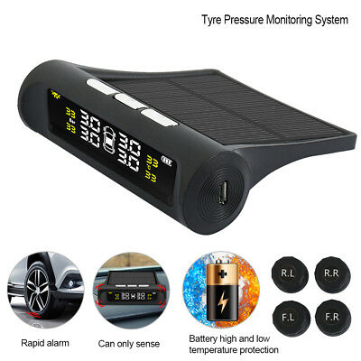 Wireless Tire Tyre Pressure Monitoring System Solar TPMS Car  External H.
