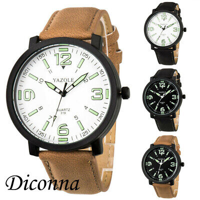 NEW Men's Military Leather Date Quartz Analog Army Casual Dress Wrist Watches