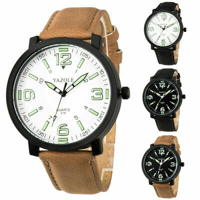 Mens New Military Leather Date Quartz Analog Army Casual Dress Wrist Watches