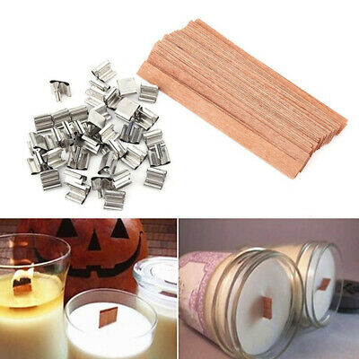 Wooden Wick Wax Candle Core Square Candlestick Sustainer Tabs Stand Alloy DIY~