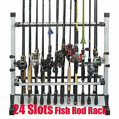 Portable Fishing Rod Rack Holder Stand 24 Slots Alloy Metallic Silver w/ Black B