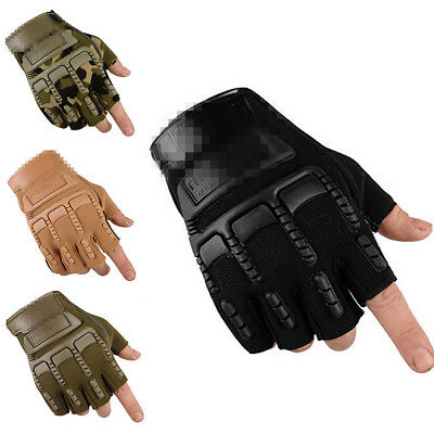 Tactical Hard Knuckle Half Finger Gloves Army Military Airsoft Work Mittens 2PCS