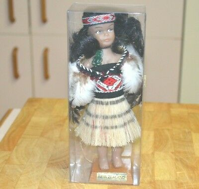 Vintage New Zealand Maori Traditional Doll Wahine Costume Souvenir in Box 19cm