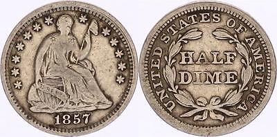 M5298 USA Half Dime Liberty Seated 1857 Argent Silver - Faire Offre