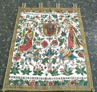 "Antique 19c Aubusson French print Tapestry thred zeri Beautifu size29""x23cm74x59"