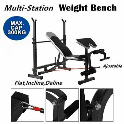 Multi-Station Weight Bench Press Fitness Weights Equipment Curl Incline Home R6