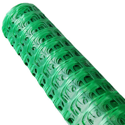 GardenersDream Plastic Fence Barrier Safety Mesh With Metal Steel Pins (Green)