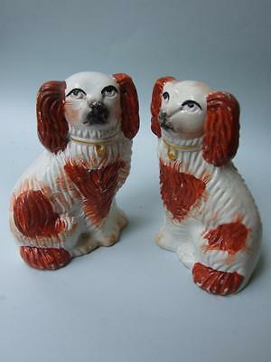 ANTIQUE PAIR STAFFORDSHIRE  POTTERY SMALL SPANIELS  DOGS FIGURINES C.1880's