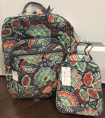 f2fd6c9e526e NEW Vera Bradley NOMADIC FLORAL Campus Backpack   Lunch Bunch School  Collage Bag