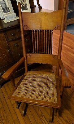 Antique Oak Rocking Chair Rocker cane seat