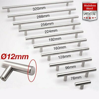 10Pcs Kitchen Cabinet Handles Stainless Steel Knobs Drawer Cupboard Pulls T Bar
