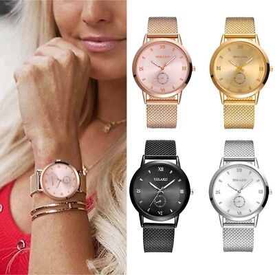 UK Women Ladies Rose Gold Silver Plated Stainless Steel Geneva Wrist Watch