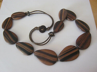 Vintage wood with leather accents necklace, two tone wood, hand knotted, leather