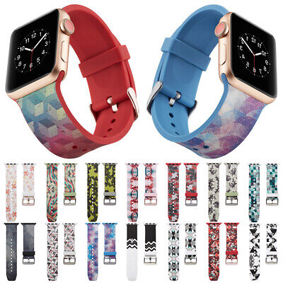 Colorful Painting Silicone Wrist Band Strap For Apple Watch iWatch Series 4 3 2