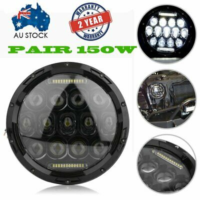 2 X 150W LED Headlights 7'' Round Jeep Wrangler Harley Motorcycle H/L/DRL