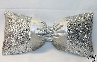 Silver Crushed Velvet, Silver Glitter Bow, Small Cushion.