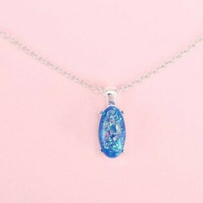 925 Sterling Silver Plated Imitation Blue Fire Opal Oval Pendant Necklace