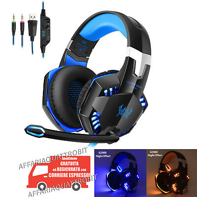 Cuffie Gamer da Gioco con microfono a led usb Cuffia Gaming pc console ps4 xbox