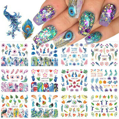 Flower  Cute Water Transfer Decals Nail Sticker Peacock Nail Art Decoration