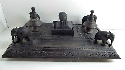 Antique Ebonised Wooden Elephant Desk Set Ebony Timber Pen Ink Writing Stand Box