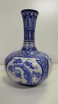 Asian Antique Japanese Pottery Porcelain Vase Hand Painted Decorative
