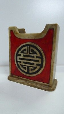Asian Chinese Soapstone Chopstick /card Holder Incised Carved Decorative Vintage