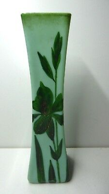 Victorian Edwardian Antique Green Milk Glass Hand Painted Vase 25 Cm Tall