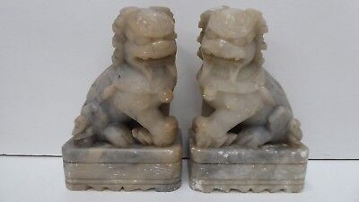 Pair Old Carved Chinese Stone Foo Dogs / Temple Dragons