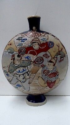 Asian Antique Japanese Satsuma Pottery Porcelain Vase Hand Painted Decorative